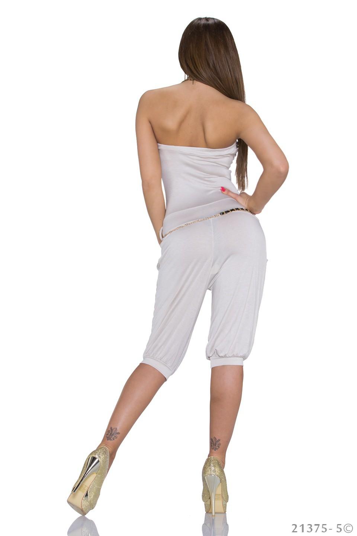 sexa damen bandeau overall jumpsuit mit g rtel rot creme gr s m 34 36 sexy ebay. Black Bedroom Furniture Sets. Home Design Ideas
